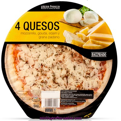 Pizza Fresca 4 Quesos Familiar (emmental,mozzarella,grana,cheddar), Hacendado, U 560 G