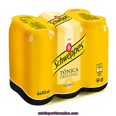 Schweppes Tónica Pack 6 Latas 33 Cl