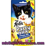 Felix Party Mix Cheezy Mix Snacks Para Gato Con Sabor A Queso Cheddar, Gouda Y Edam Envase 60 G