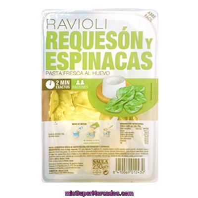 Pasta Fresca Ravioli Requeson Y Espinacas Saula Tarrina 250 G