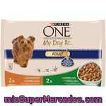Purina One My Dog Is Adult Alimento Para Perro De Raza Mini Con Pollo Y Verduras Y Con Cordero Y Arroz Pack 4 Bolsa 100 G