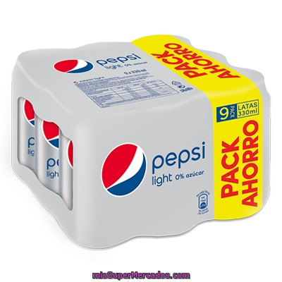 Refresco De Cola Light Pepsi Cola, Pack 9x33 Cl