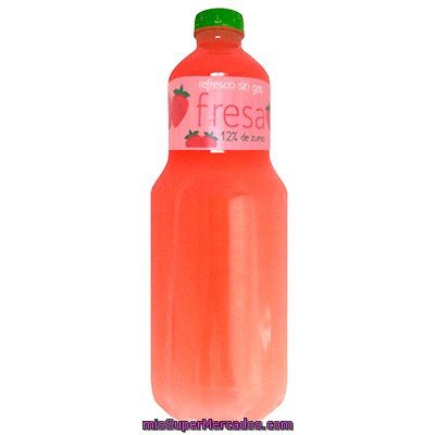 Refresco Fresa Sin Gas 12% Zumo, Gold Spring, Botella 1500 Cc